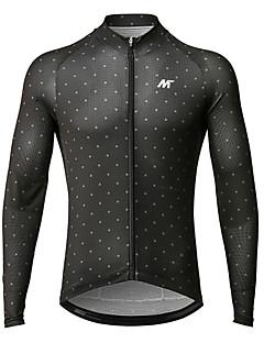 billige Sykkelklær-Mysenlan Herre Langermet Sykkeljersey - Svart Sykkel Jersey Polyester / YKK-glidelås