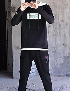 baratos Abrigos e Moletons Masculinos-homens saindo de manga comprida slim hoodie - carta / bloco de cor com capuz