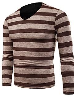 billige Herremote og klær-Herre Grunnleggende Pullover - Ensfarget / Stripet / Fargeblokk