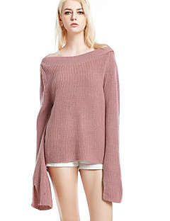 tanie Swetry damskie-Damskie Podstawowy Z odsłoniętymi ramionami Pulower Jendolity kolor Długi rękaw