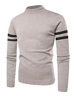 tanie Męskie swetry i swetry rozpinane-Męskie Wełna Podstawowy Okrągły dekolt Luźna Pulower Wielokolorowa Długi rękaw