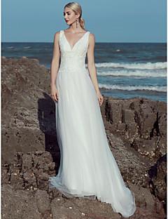 billiga A-linjeformade brudklänningar-A-linje V-hals Svepsläp Spets / Tyll Bröllopsklänningar tillverkade med Spets / Krusad av LAN TING BRIDE®