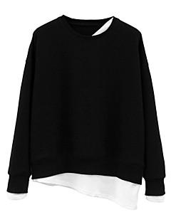 baratos Moletons com Capuz e Sem Capuz Femininos-camisola de manga comprida feminina - bloco de cor em volta do pescoço