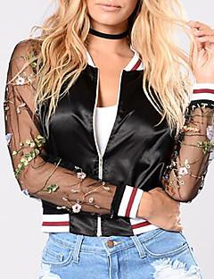 Χαμηλού Κόστους Bomber Jackets-Γυναικεία Καθημερινά / Εξόδου Κομψό στυλ street / Εκλεπτυσμένο Καλοκαίρι / Φθινόπωρο Κοντό Σακάκι, Φλοράλ Στρογγυλή Λαιμόκοψη Μακρυμάνικο Πολυεστέρας Κεντητό Μαύρο L / XL / XXL