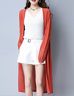 tanie Swetry damskie-Damskie Wyjściowe Głęboki dekolt w serek Szczupła Długi Rozpinany Jendolity kolor Długi rękaw
