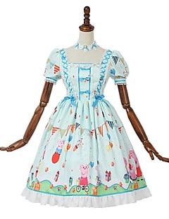 billiga Lolitamode-Söt Lolita Casual Lolita Klänning Söt Lolita Rokoko Dam Klänningar Cosplay Magneta Puff Kortärmad Knälång Kostymer
