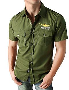 billige Herremote og klær-Skjorte Herre - Ensfarget, Broderi Gatemote / Militær