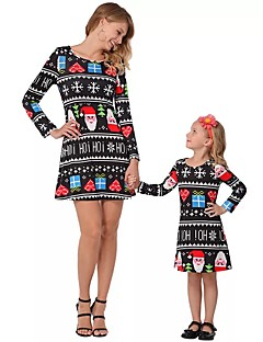 billige Sett med familieklær-Voksen / Barn / Baby Mamma og meg Geometrisk / Fargeblokk Langermet Kjole