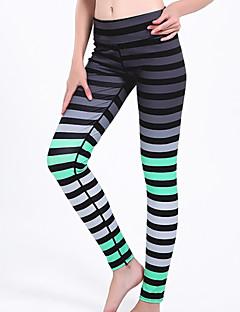 baratos Leggings para Mulheres-Mulheres Básico Legging - Listrado Cintura Alta