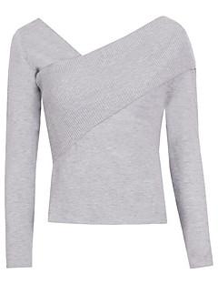 tanie Swetry damskie-Damskie Wyjściowe Bez ramiączek Pulower Jendolity kolor Długi rękaw