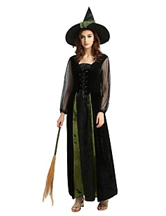 cheap Halloween & Carnival Costumes-Witch Cosplay Costume Party Costume Women's Adults Halloween Halloween Carnival Masquerade Festival / Holiday Outfits Black Solid Colored Halloween
