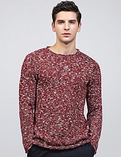 tanie Męskie swetry i swetry rozpinane-Męskie Podstawowy Okrągły dekolt Szczupła Pulower Geometryczny Długi rękaw