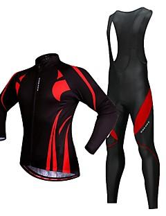 billige Sykkelklær-WOSAWE Herre Langermet Sykkeljersey med bib-tights - Svart / Rød Sykkel Jersey, 3D Pute, Refleksbånd Polyester, Fleece / Elastisk