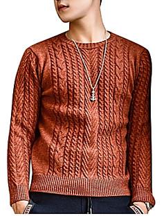 tanie Męskie swetry i swetry rozpinane-Męskie Podstawowy Okrągły dekolt Szczupła Pulower Jendolity kolor Długi rękaw