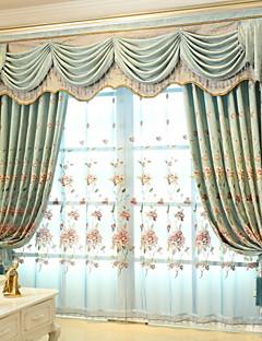 billige Gjennomsiktige gardiner-Gardiner Skygge Stue Blomstret / Geometrisk Polyester Broderi