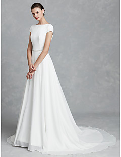A Line Bateau Neck Court Train Chiffon Satin Made To Measure Wedding Dresses With Crystal Brooch By Lan Ting Bride Beautiful Back