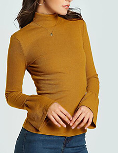 billige T-shirt-Rullekrave Tynd Dame - Ensfarvet I-byen-tøj T-shirt