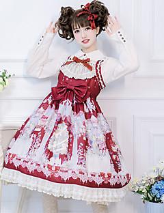 billiga Lolitamode-Söt Lolita Söt Lolita Chiffong Spets Dam Klänningar Cosplay Röd / Blå / Bläck blå Poet Halvlång ärm Midi Kostymer