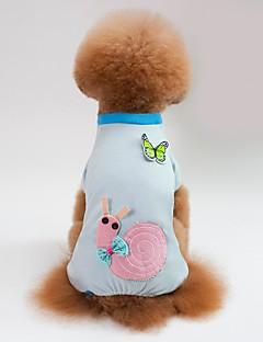 billiga Hundkläder-Hund / Katt Pyjamas Hundkläder Geometrisk / Djur / Tecknat Blå / Rosa Cotton Kostym För husdjur Dam Söt Stil / Ledigt / vardag