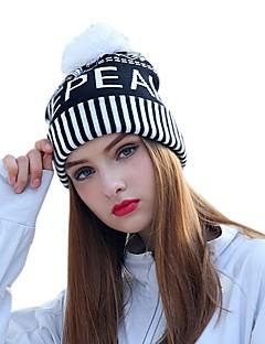 billige Tilbehør-VEPEAL Turcaps Skelett Caps Hatt Vindtett Hold Varm Stretch Vinter Svart / Hvit Dame Vandring Reise Stribe Tenåring Voksne / Mikroelastisk