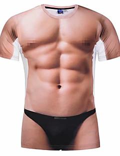 billiga Träning-, jogging- och yogakläder-Herr T-shirt för jogging - Grov Svart, Ljusbrunt, Kristall sporter 3D Print T-shirt Löpning, Fitness, Gym Kortärmad Sportkläder Andningsfunktion, Mjuk, Svettavvisande Microelastisk