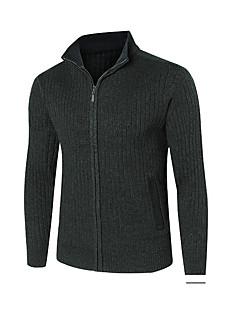 baratos Suéteres & Cardigans Masculinos-cardigan de lã de manga comprida plus size para homem - suporte colorido sólido