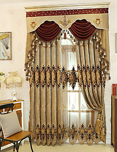 billige Gardiner-gardiner gardiner Soverom Geometrisk Polyester Reaktivt Trykk