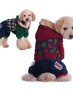 billiga Hundkläder-Hund / Katt Kappor Hundkläder Geometrisk Röd / Grön Cotton Kostym För husdjur Unisex Sport och utomhus / Ledigt / vardag