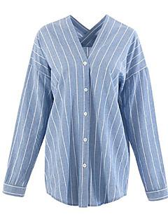 billige Skjorte-V-hals Tynd Dame - Farveblok I-byen-tøj Skjorte
