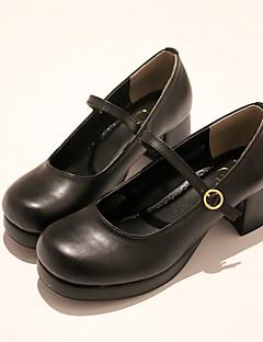 billiga Lolitamode-Klassisk Stil Block Heel Skor Ensfärgat 3-5 cm CM Svart Till PU Halloweenkostymer