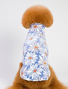 billiga Hundkläder-Hund / Katt Pyjamas Hundkläder Geometrisk / Blomma Blå / Rosa 100% Korall Fleece Kostym För husdjur Herr Blomstil / Ledigt / vardag