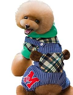 billiga Hundkläder-Hund / Katt Dräkter / Kostymer / Kappor / Jumpsuits Hundkläder Pläd / Rutig / Lappverk Röd / Grön Cotton Kostym För husdjur Unisex Unik design / Brittisk