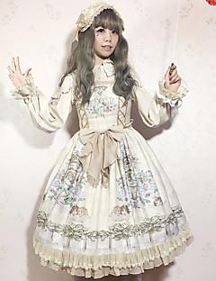 billiga Lolitaklänningar-Klassisk / Traditionell Lolita Söt Lolita Chiffong Dam Cosplay Vit / Blå / Bläck blå Ärmlös Ärmlös Halloweenkostymer
