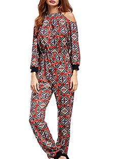 billige Jumpsuits og sparkebukser til damer-Dame Grunnleggende Kjeledresser - Geometrisk, Lapper / Trykt mønster