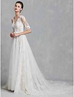billiga Brudklänningar-A-linje V-hals Kapellsläp Spets / Tyll Bröllopsklänningar tillverkade med Applikationsbroderi / Rosett(er) av LAN TING BRIDE® / Vacker i svart