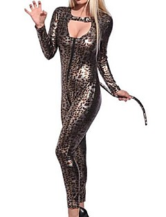 baratos Trajes da Noite das Bruxas-Gato Belle Vestidos Mulheres Adulto Animal Sensual Dia Das Bruxas Carnaval Oktoberfest Festival / Celebração Trajes da Noite das Bruxas Roupa Marron Leopardo Gato