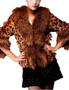 billige Pels-Pelskåpe - Leopard Grunnleggende Dame