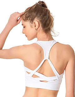 billige Løbetøj-Stroppet SportsBH'er / BH top Vatteret Høj støtte Til Yoga / Træning & Fitness / Løb - Hvid / Sort / Mørk Navy Høj Effekt, Hurtigtørrende, Åndbart Dame Nylon