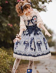 billiga Lolitamode-Söt Lolita Söt Lolita Chiffong Spets Dam Klänningar Cosplay Röd / Blå / Bläck blå Poet Halvlång ärm Midi Halloweenkostymer