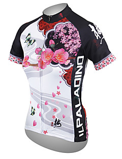 ILPALADINO Women s Short Sleeve Cycling Jersey - White Floral   Botanical  Plus Size Bike Jersey Top Breathable Quick Dry Ultraviolet Resistant Sports  ... fe494eee3