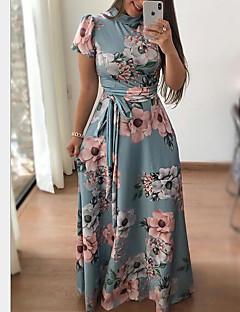 billige Kjoler-Dame Ferie / I-byen-tøj Swing Kjole - Blomstret, Trykt mønster Maxi