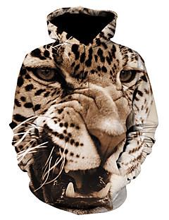 baratos Abrigos e Moletons Masculinos-Homens Moda de Rua / Punk & Góticas Moletom - Estampado, Leopardo / Estampa Colorida / 3D