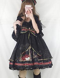billiga Lolitaklänningar-Gotisk Lolita Klassisk / Traditionell Lolita Vintage Gotiskt Chiffong Spets Dam Klänningar Cosplay Gul / Röd / Bläck blå Sydd spets Puffärm Halvlång ärm Midi Kostymer