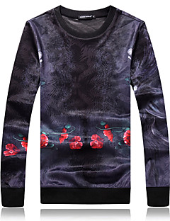 tanie Miesten hupparit ja collegepuserot-sportowa męska bluza z długim rękawem slim - kolor blok / kwiatowy okrągły dekolt