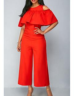 tanie Kombinezony damskie-Damskie Codzienny Czerwony Spodnie szerokie nogawki Kombinezon, Solidne kolory L XL XXL Krótki rękaw / Seksowny