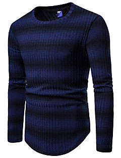 baratos Suéteres & Cardigans Masculinos-Homens Básico / Moda de Rua Pulôver - Listrado
