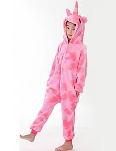 billige Kigurumi-Barne Pegasus Onesie-pysjamas Flannelstoff Rosa Cosplay Til Gutter og jenter Pysjamas med dyremotiv Tegnefilm Halloween Festival / høytid
