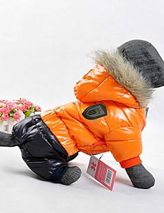 billiga Hundkläder-Hundar Kappor / Huvtröjor Röd / Orange / Gul / Blå Hundkläder Vinter / Vår/Höst Färgblock Sport / Håller värmen / Vindtät