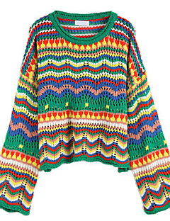 baratos Suéteres de Mulher-Mulheres Básico Pulôver - Estampa Colorida