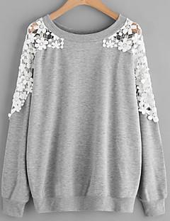 tanie Damskie bluzy z kapturem-damska bluza z długim rękawem - jednolity okrągły dekolt